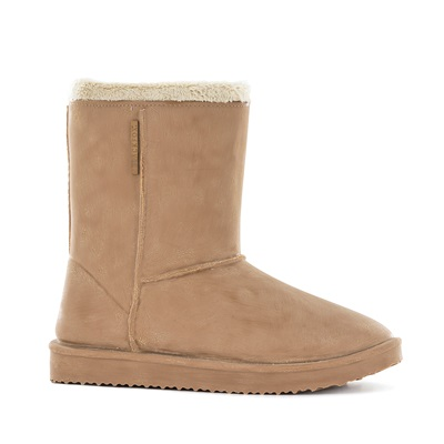 WATERPROOF SHEEPSKIN STYLE LADIES SNUG-BOOT WELLIES in BEIGE