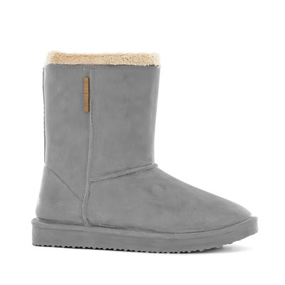 Waterproof Sheepskin Style Ladies Snug-Boot Wellies in Grey