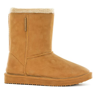 WATERPROOF SHEEPSKIN STYLE LADIES SNUG-BOOT WELLIES in CARAMEL