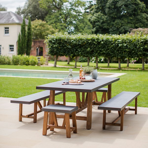 Outdoor Wood and Concrete Dining Table and Bench Set