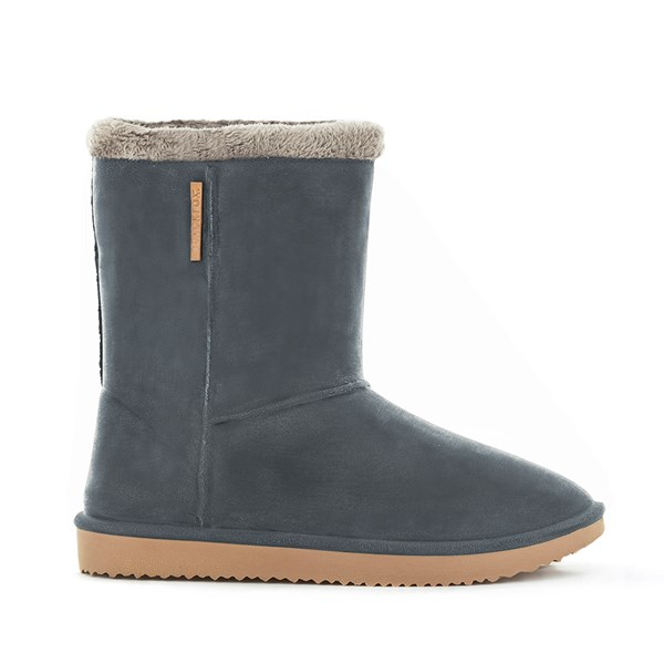Waterproof Sheepskin Style Ladies Snug-Boot Wellies in Anthracite