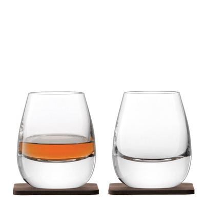LSA Whisky Islay Tumbler Glasses Set with Walnut Coasters