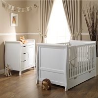 STAMFORD COT BED 2 PIECE NURSERY SET in White by Obaby