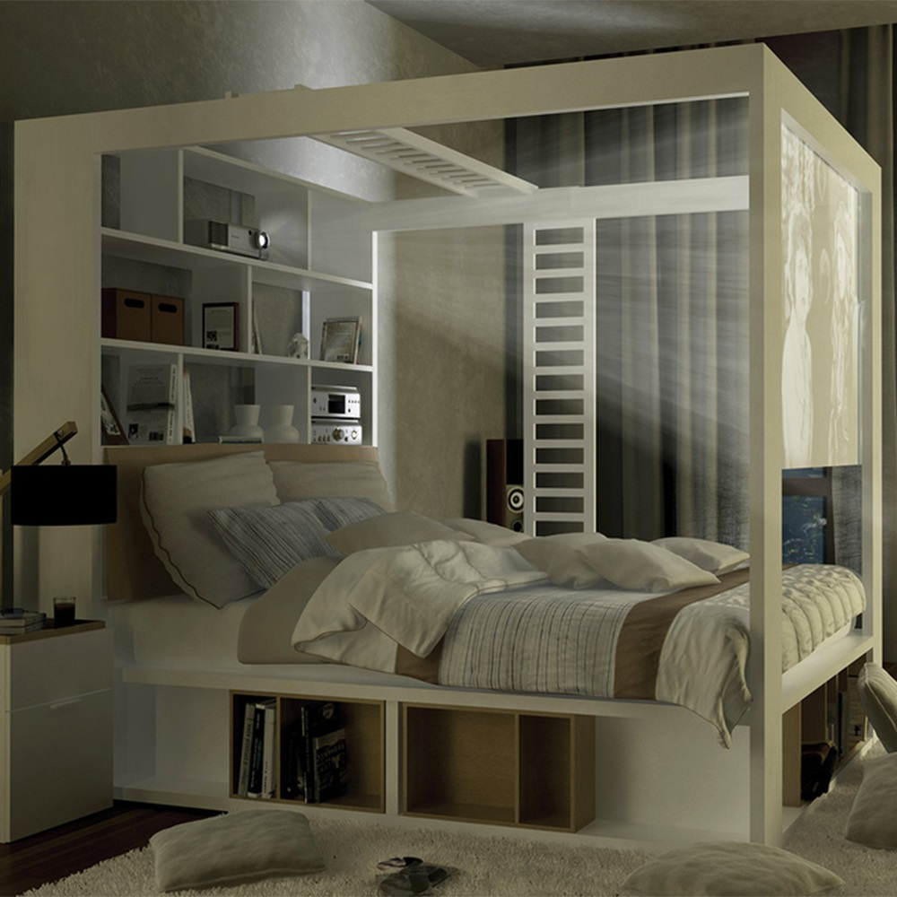 4you 4 Poster Double Bed With Storage Amp Shelves In White