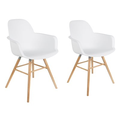 ZUIVER PAIR OF ALBERT KUIP RETRO MOULDED ARMCHAIRS in White