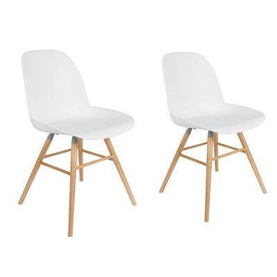 ZUIVER PAIR OF ALBERT KUIP RETRO MOULDED DINING CHAIRS in White