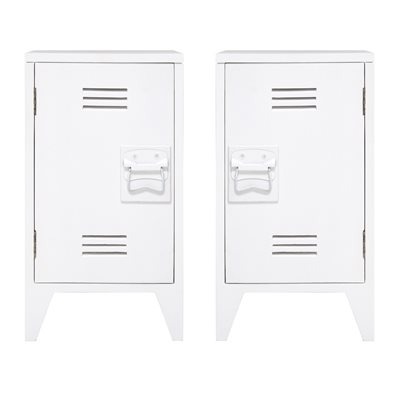 PAIR OF INDUSTRIAL STYLE BEDSIDE CABINETS in White