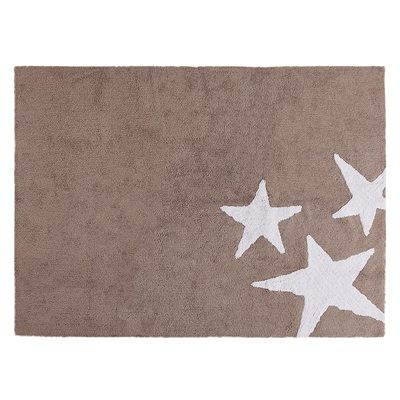 KIDS WASHABLE RUG in Linen & White Star Design