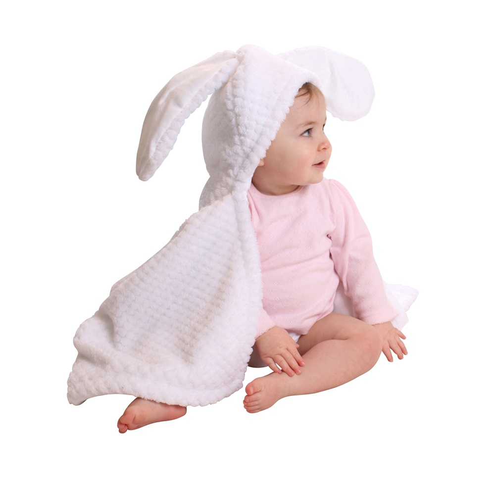 Bunny Ears Baby Blanket In White Baby Blankets Throws