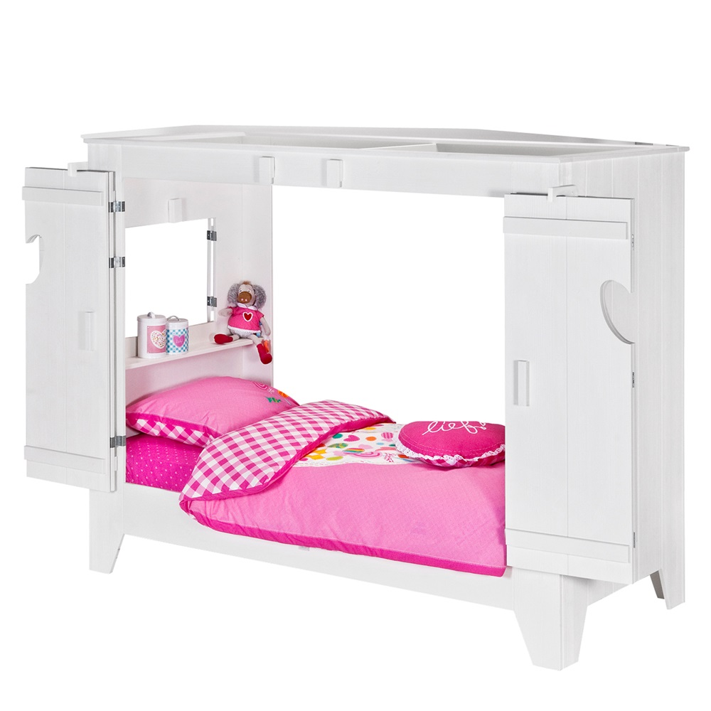 Kids Cupboard Style Cabin Bed In White With Folding Doors ...