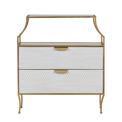Glamm Chest of Drawers in Brass Finish by Be Pure Home