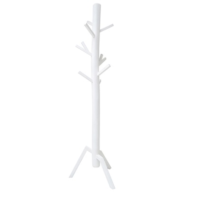 WOODEN COAT STAND in White