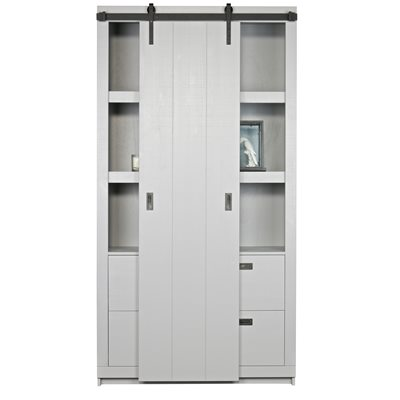 RUSTIC PINE CABINET WITH SLIDING DOOR in Concrete Grey