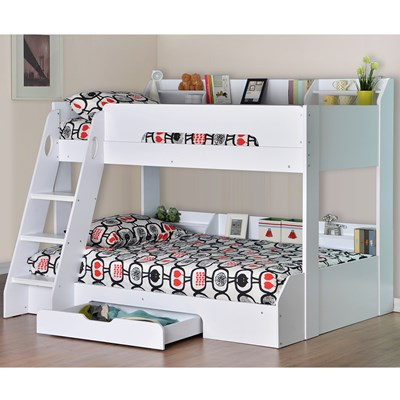 Flick Triple Bunk Bed In White Flair Furniture Cuckooland