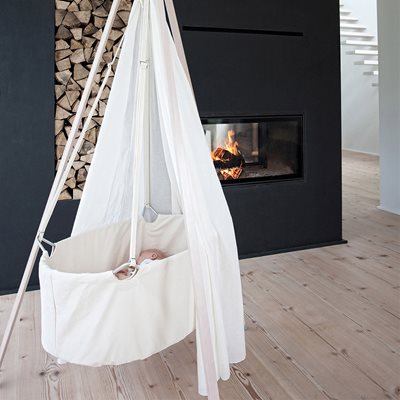 LEANDER Hanging Baby Cradle with Mattress, Canopy & Hook