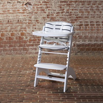Lambda 2 Wooden High Chair in White