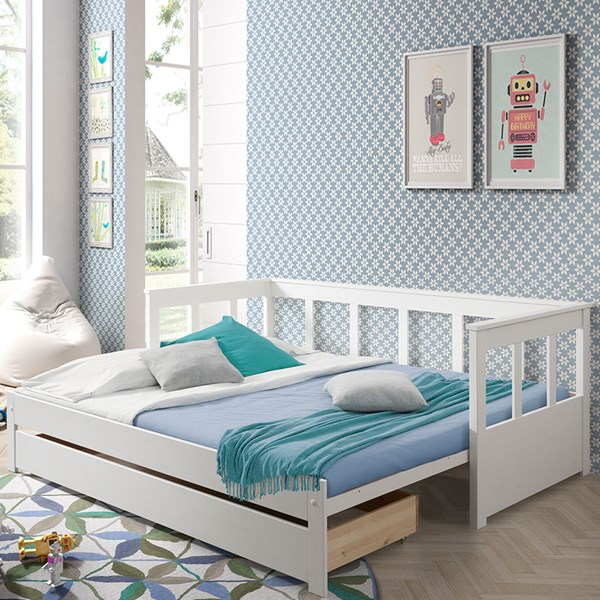 Kids Single Bed with Pull Out Bed