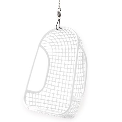 INDOOR RATTAN HANGING EGG CHAIR in White