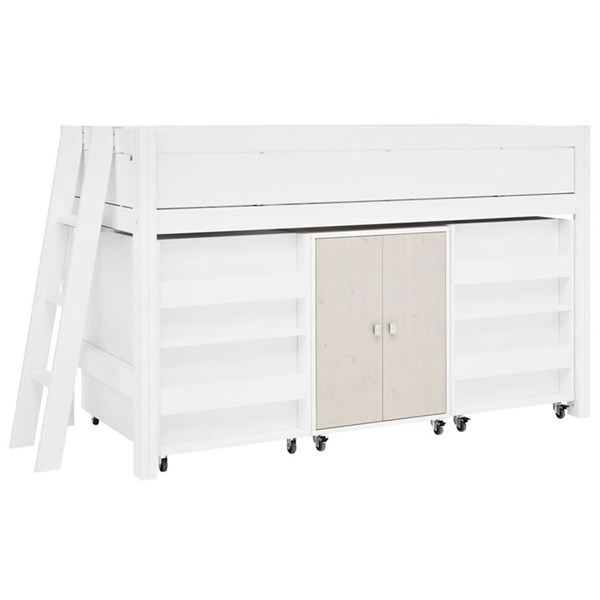 White Kids Luxury Semi High Cabin Bed