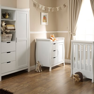 STAMFORD MINI COT BED 3 PIECE NURSERY SET in White by Obaby