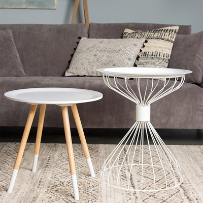 KELLY SIDE TABLE with Tray in Contemporary White