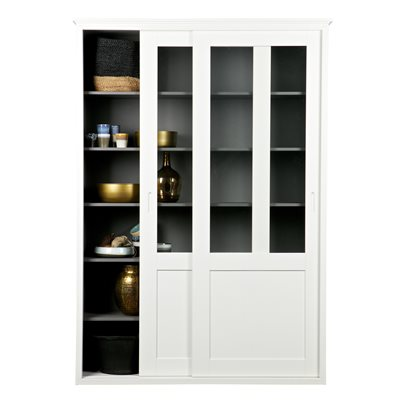 VINCE DISPLAY CABINET WITH SLIDING DOORS in White