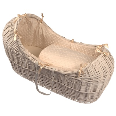 BABY SNOOZE POD in White Wicker & Dimple Fabric