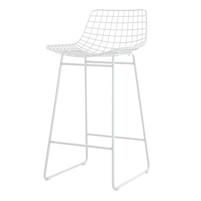 PAIR OF WIRE BREAKFAST BAR STOOLS in White