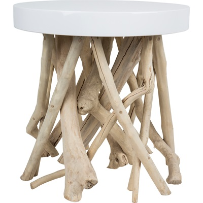 ZUIVER CUMI LOUNGE SIDE TABLE in Contemporary Glossy White with Mango Wood