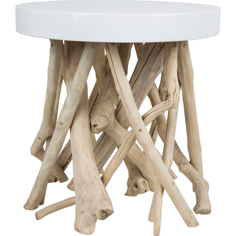 Zuiver I Lounge Side Table In Contemporary Glossy White With Mango Wood