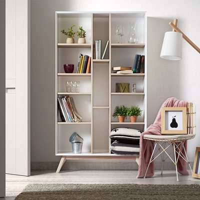 QUATRE WOODEN BOOKCASE in White and Ash