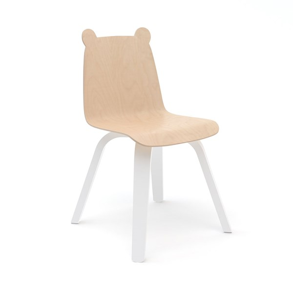 Oeuf Set of 2 Bear Play Chairs in White and Birch