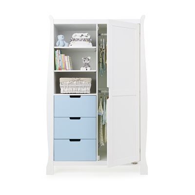 Obaby Stamford Double Wardrobe in White & Bonbon Blue