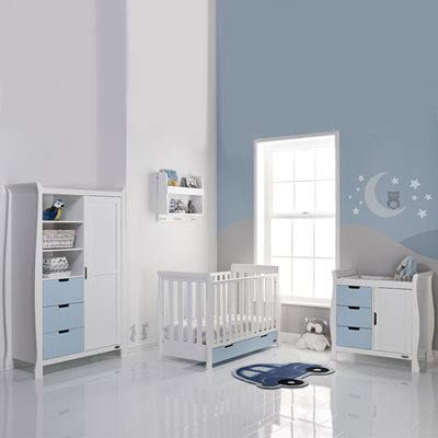 STAMFORD MINI COT BED 3 PIECE NURSERY SET in Bonbon Blue with White by Obaby