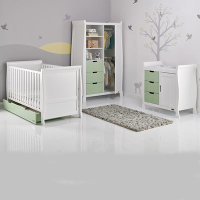 OBABY STAMFORD SLEIGH COT BED 3 PIECE NURSERY SET in Pistachio Green and White