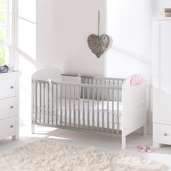 East Coast Angelina Baby and Toddler Cot Bed in Grey and White