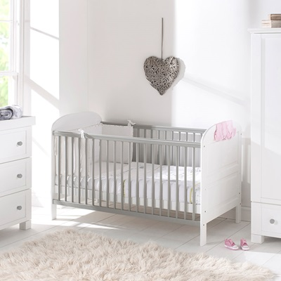 EAST COAST ANGELINA BABY & TODDLER COT BED in Grey and White