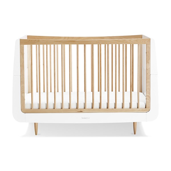 White and Natural Beech Wood Cot Bed