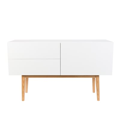 ZUIVER HIGH ON WOOD 2 DRAWER & 1 DOOR SIDEBOARD in White & Oak