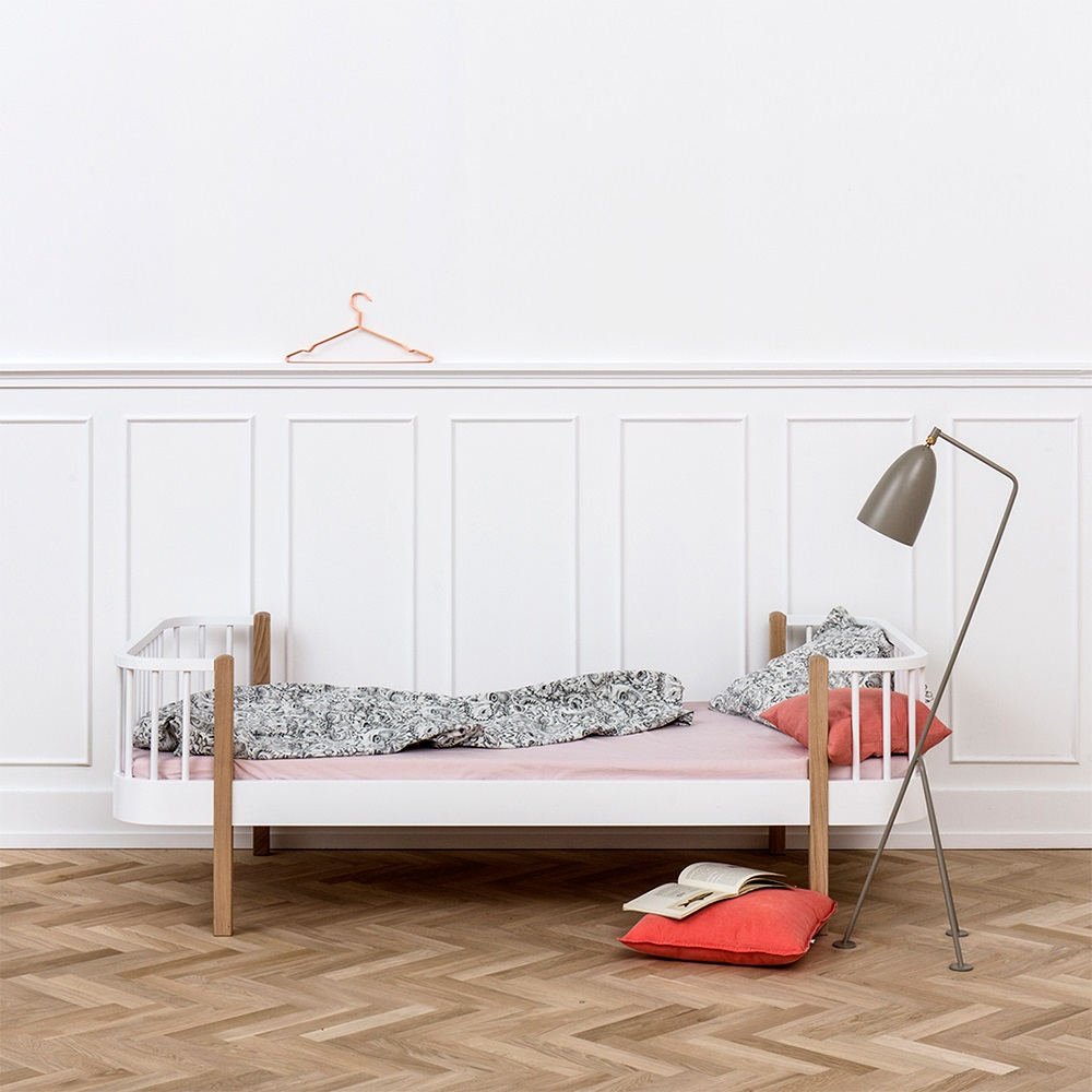 Contemporary wood single bed in oak white kids beds cuckooland Home furniture single bed