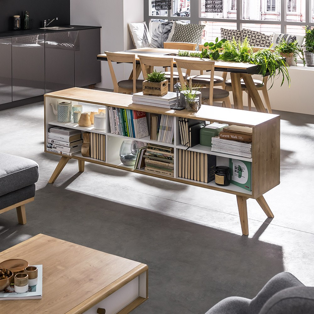 the best attitude 43a17 d64d0 Vox Nature Two Sided Low Shelving Unit in White & Oak Effect