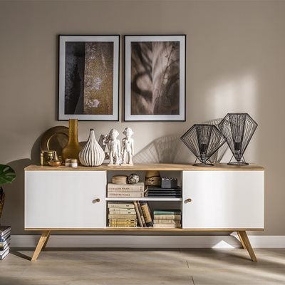 VOX NATURE WIDE SIDEBOARD in White & Oak Effect