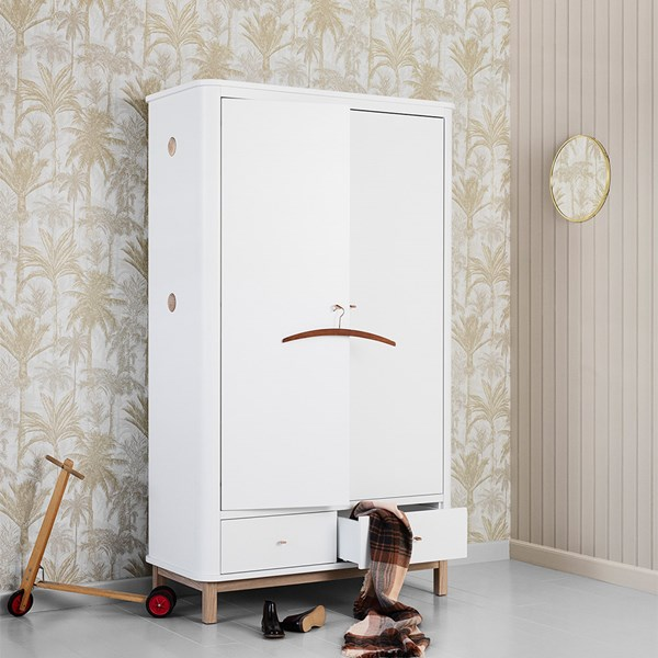 Wood Contemporary 2 Door Wardrobe in White and Oak