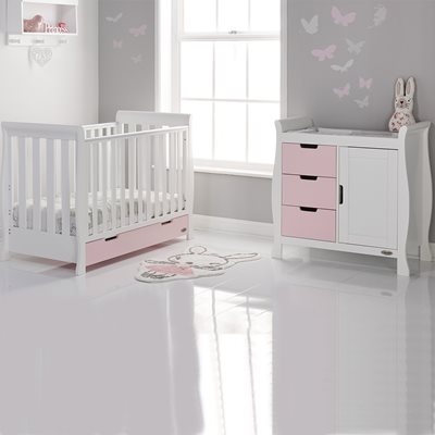 OBABY STAMFORD MINI SLEIGH COT BED 2 PIECE NURSERY SET in Eton Mess and White