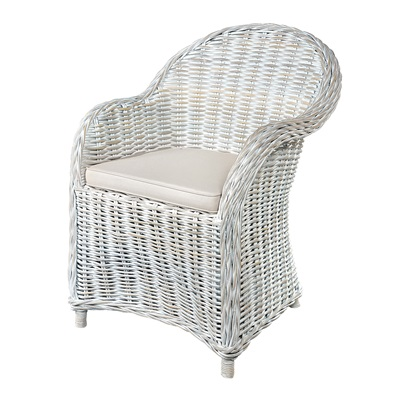 THICK HEAVYWEIGHT WOVEN RATTAN ARMCHAIR in White Wash