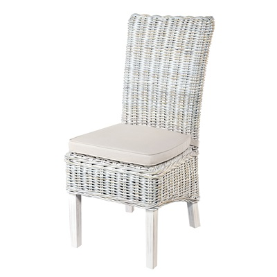PAIR OF WOVEN RATTAN HIGH BACK DINING CHAIRS in White Wash