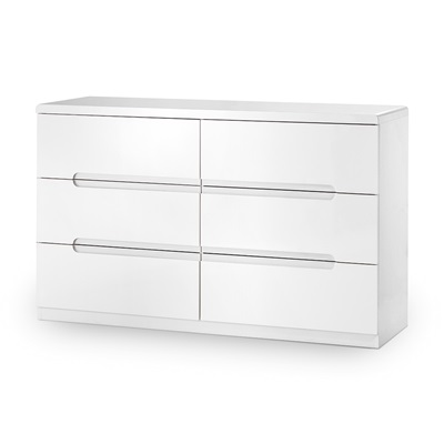 MANHATTAN 6 DRAWER WIDE CHEST in White