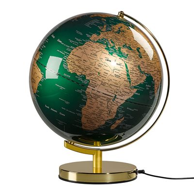 "WILD & WOLF LIGHT UP 12"" GLOBE in Fir Green and Brass"