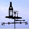 WINE BOTTLE & WINE GLASSES WIND VANE
