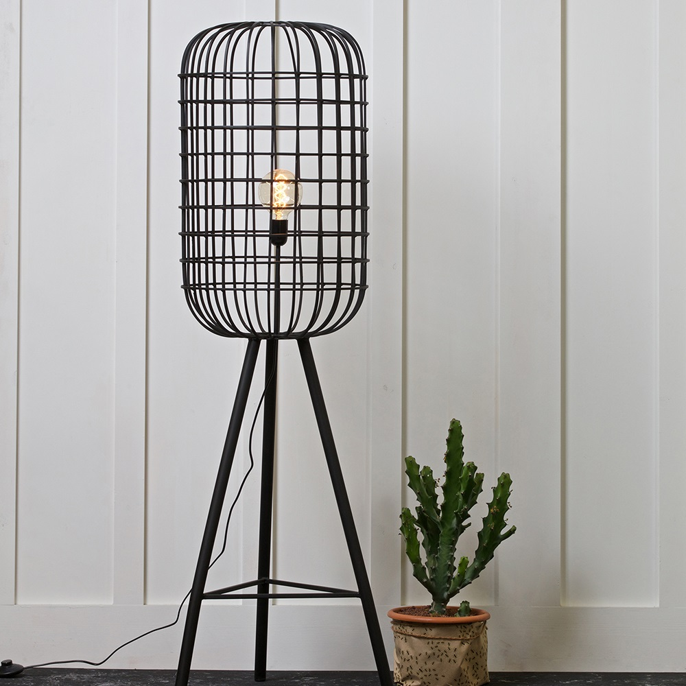 Hurricane metal floor lamp in black be pure home cuckooland wire hurricane lightg mozeypictures Images
